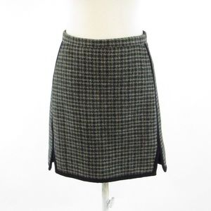 Green brown checkered J. CREW A-line skirt size 2
